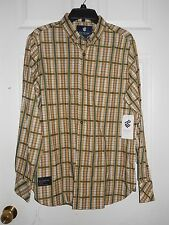 Roca Wear Classics New Mens Vintage White Dynasty Plaid Button Up Shirt Large