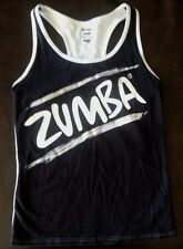 Zumba Racerback Tank Top Black with White / Gray Lettering Zumba Wear Size Small