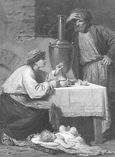 RUSSIAN PEASANT COTTAGE FAMILY DRINK TEA NEW BABY ~ Old 1874 Art Print Engraving