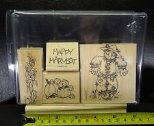 Stampin Up Happy Harvest Set of 4 Rubber Stamps Halloween Scarecrow