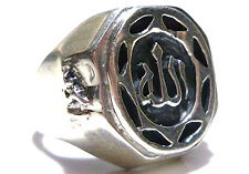 MENS TRIBAL ARABIC MIDDLE EAST STERLING SILVER CLASSY CREST SIGNET SHIELD RING