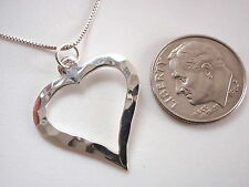 Hammered Style Heart Pendant 925 Sterling Silver Corona Sun Jewelry