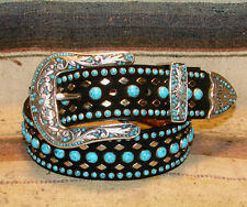 Nocona Studded Bejeweled Black Turquoise Leather Bling Western Belt Size 32 New