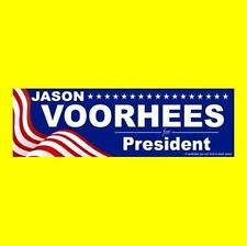 """JASON VOORHEES FOR PRESIDENT"" Friday the 13th BUMPER STICKER, Camp Crystal Lake"