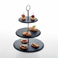 """14.4"""" Tall 3 Tier Round Stone Cake Stand 6""""&8""""&10"""" Nature Slate Serving Set"""
