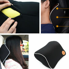 Black Car Seat Head Pad Memory Foam Travel Pillow Head Neck Rest Support Cushion