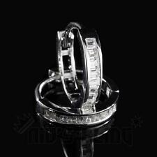 18K White Gold ICED OUT Simulated Diamond Emerald Set Huggie Hoop Earring