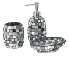 NUOVO Argento Shell Piastrelle Mosaico Bagno Set 3-pce Spazzolino da denti, Bolle di Sapone Dispenser &