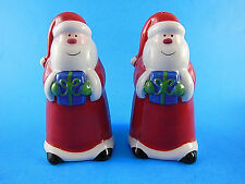 "Santa Claus Ceramic Salt & Pepper Shakers Christmas Holiday 4"" Excellent conditi"