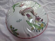 18th Century Tin Glazed French Faience Floral Longwy Marseille Ware: Tureen Lid