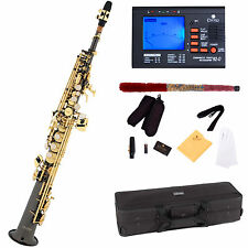 Mendini Straight Bb Soprano Saxophone ~Black Nickel Body Gold Key +Tuner~MSS-BNG