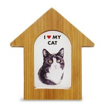Black & White Cat Wooden Dog House Magnet 3.5 X 3 In. Self Standing