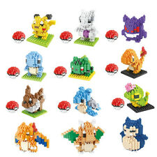 Pikachu Pokemon GO Nano Mini Building Lego-Blocks Figures LOZ Toy Set Xmas Gifts