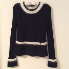 CHANEL 02A BLACK RIBBED PULLOVER SWEATER WITH WHITE TRIM: Sz 42, Authentic, NWT