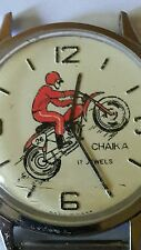 VINTAGE WATCH MOTORCYCLE BIKER USSR RUSSIA CHAIKA GULL 17 JEWELS CCCP ERA