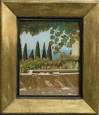 William Blake RICHMOND 1842-1921 ITALIANO Garden Pond PAESAGGIO pittura ad olio arte