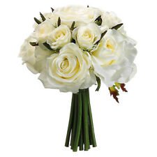 IVORY Roses ~ Bridal Hand Tied Bouquet Silk Wedding Flowers Bridesmaid Toss NEW