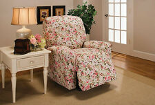 "PINK FLORAL WASHABLE COVERS FOR LOVESEAT SOFA COUCH CHAIR RECLINER---""STRETCHES"""