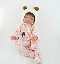 Reborn Baby Doll Soft Silicone Girl Toy 22in. 55cm Sleeping White Bear Gift