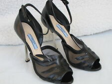 PRADA SHOES peep toe heels mesh flame black 36 6
