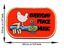 Woodstock Peace Love Music Guitar V02 Applique Iron on Patch Sew Free Shipping