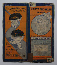 Carte MICHELIN old map FRANCE LE MANS PARIS 1929 Bibendum pneu tyre