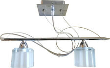 Suspended Ceiling Ice Cube Frosted Shade Light Fitting Chrome 2 Way Spot Lamps