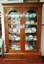 Antique American Oak Display Cabinet Bookcase Vitrine 2 Arched Glass Doors H94""