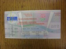 10/12/1994 Rugby Union Ticket: England v Canada [At Twickenham] (Folded)