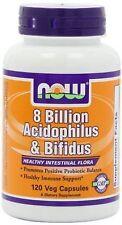 NOW 8 Billion Acidophilus & Bifidus 120 Veg Capsules Healthy Intestinal Flora