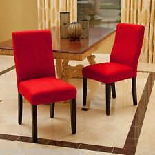 Set of 2 Contemporary Red Fabric Dining Chairs