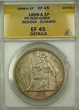 1898-A French Indo-China Silver 1P Coin ANACS EF-45 Details Cleaned Residue