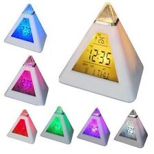 New Triangle Digital LCD Multi Color Pyramid Thermometer  Date Time Alarm Clock