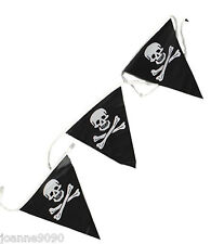 PIRATE SKULL AND CROSSBONES PARTY BUNTING FLAG BANNER 7M BIRTHDAY DECORATION FUN