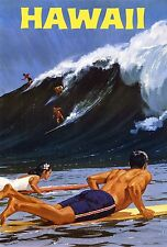 A0 LARGE Vintage Illustrated Travel Poster PRINT Hawaii Aloha surfing waves