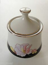 Lynns Fine China Pearl ALICE 8860 Lily Black Ring Floral - LIDDED SUGAR BOWL