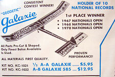 """Vintage GEODETIC GALAXIE 49"""" FF Full-Size Model Airplane PLAN + Parts Patterns"""