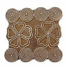 Floral Wooden Textile Stamp Brown Printing Block Art Indian Hand Carved Stamp