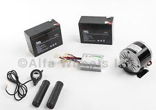 350W 24V DC electric motor kit w Batteries, Speed Controller & Thumb Throttle