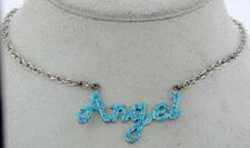 """Silver tone Necklace with Blue """"Angel"""" Charm"""