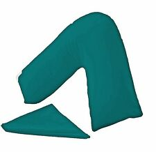 PLAIN DYED ORTHOPAEDIC PILLOWCASE TEAL V PILLOW COVER NON ALLERGENIC LUXURY