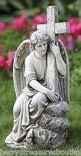 "13"" Seated Male Angel with Cross Memorial Garden Statue Joseph's Studio 65982"