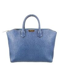 Burberry Medium Dewsbury Embossed Heritage Grain Leather Tote Light Blue $1250