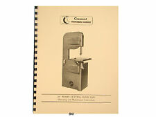 """Rockwell Delta Crescent  20"""" Wood Band Saw  Op, Maintenance, & Parts Manual *841"""