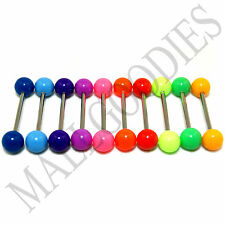 W010 Acrylic Tongue Rings Barbells Plain Colors LOT 10