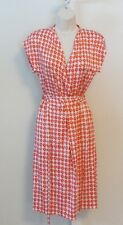 Diane von Furstenberg Mindy Check Grid Coral orange white wrap dress 2 DVF New