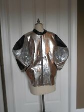 Vintage 80's BOY LONDON JACKET METALLIC SILVER Crop EAGLE Back Sz XL US SELLER