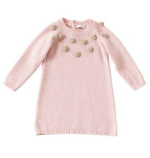 IL GUFO BABY PINK POM POM WOOL AND CASHMERE DRESS 12 MONTHS