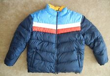 Retro PHYS SCI Reversible Blue/Yellow DOWN JACKET Puffer Winter Ski Coat Size XL