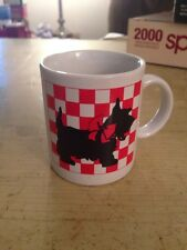 VINTAGE SCOTTISH TERRIER SCOTTIE DOG RED & WHITE CHECKED COFFEE  MUG